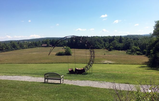 Gnomen, by Frank Gonzales, was made of steel in 1995, and one of the many pieces of art that dot the landscape of Stone Quarry Hill Art Park. (Anne Schühle)