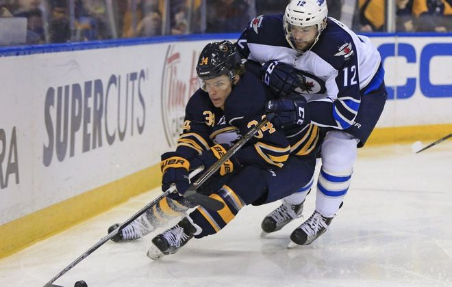 Casey Nelson has a goal and an assist in three preseason games. (Harry Scull Jr./Buffalo News file photo)