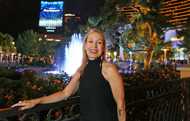 "Buffalo native Marguerite Derricks is photographed outside the Wynn hotel-casino in Las Vegas, where she is the choreographer for Wynn's musical production ""ShowStoppers."" (Ronda Churchill/Special to The News)"