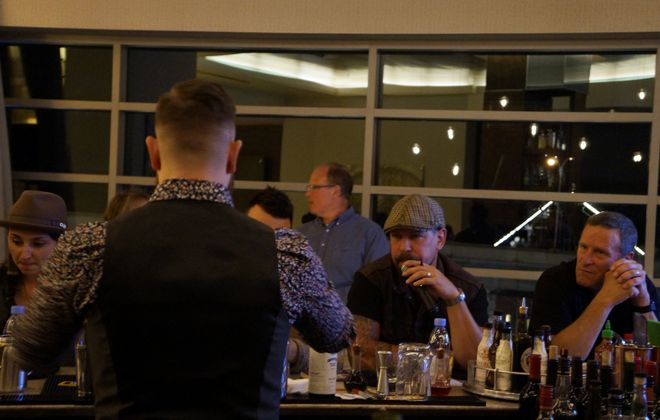 Industry veterans judged a competition for young bartenders at a U.S. Bartenders' Guild event last week, as contestants' friends and family members looked on. (Lizz Schumer/Special to The News)