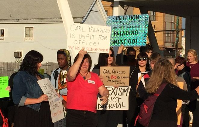 A rally was held before the Buffalo School Board meeting on Oct. 12, 2016, protesting School Board Member Carl Paladino's recent comments defending Donald Trump. (Jay Rey/Buffalo News)