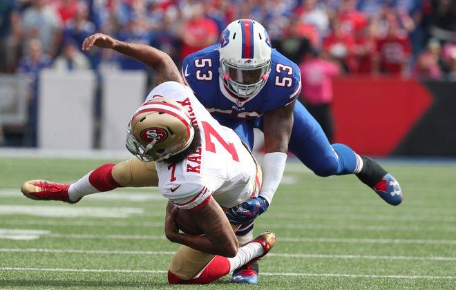 Bills linebacker Zach Brown had four sacks in 2016, including this one of San Francisco's Colin Kaepernick. (James P. McCoy/Buffalo News)