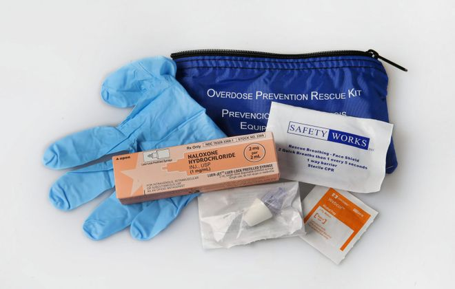 A Narcan kit is used to treat suspected opioid overdoses. The Erie County Opioid Task Force recommends it be stored with the same safety concerns in mind as with AEDs and fire extinguishers. (Sharon Cantillon/News file photo)