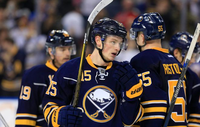 Jack Eichel is making positive noise on the ice and the bench. (Harry Scull Jr./Buffalo News)