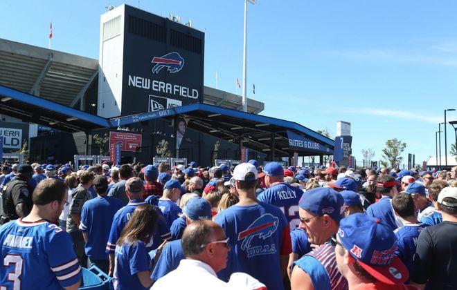 Buffalo Bills fans wait to get through one of the gates. (Sharon Cantillon/Buffalo News)