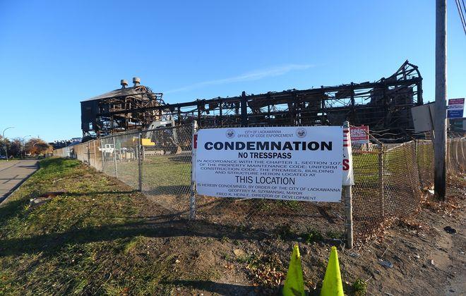 A sign posted on a section of the  former Bethlehem Steel Plant ,  in Lackawanna on  Thursday,  Nov. 17, 2016. (John Hickey/Buffalo News)