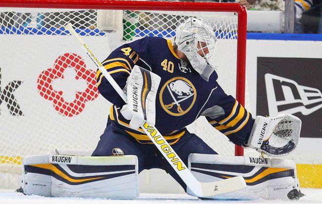 Robin Lehner could return to the Sabres' crease Saturday against Boston. (Mark Mulville/Buffalo News)