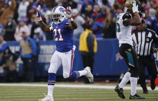 Buffalo Bills cornerback Nickell Robey-Coleman celebrates after stopping the Jacksonville Jaguars during the fourth quarter. (Harry Scull Jr./Buffalo News)