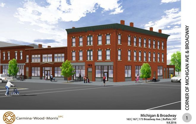 Rendering of the proposed redevelopment project on Broadway and Nash in the Michigan Street African American Heritage Corridor.