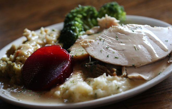 Restaurants across the area serve turkey dinners during Thanksgiving. Pictured is an example from Curry's. (Sharon Cantillon/Buffalo News file photo)