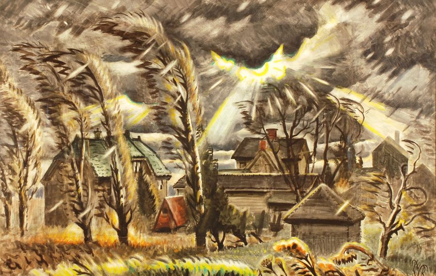 """""""December Storm,"""" like many paintings by Charles Burchfield, was based on the surroundings of Gardenville. This famous painting depicts his Gardenville backyard. (Photo via Burchfield Penney Art Center)"""