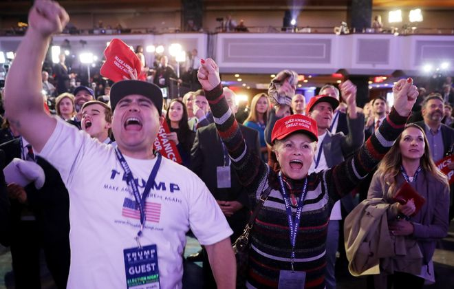 Supporters of Republican presidential nominee Donald Trump cheer as election results come in at the New York Hilton Midtown on Nov. 8 in New York City. (Chip Somodevilla/Getty Images)
