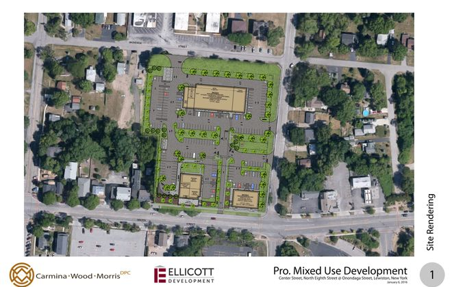 A proposed $12.5 million shopping plaza and apartment complex was approved Tuesday, Nov. 21, 2016, by the Lewiston Village Board. Ellicott Development has been trying to win approval for the project for two years.  (Courtesy of Ellicott Development)
