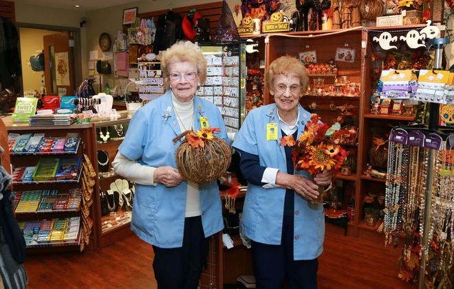 Janette Shaver, 93, and Lucy Hoffnagle, 95, have been volunteering together at Mercy Hospital for more than 30 years. (Dave Jarosz)