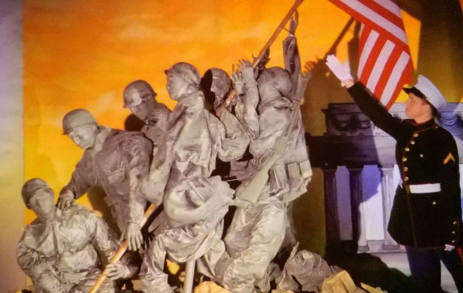 Royalton-Hartland Elementary School teacher Heather Pedini created this replica of the U.S. Marine Corps Memorial, a monument in Arlington, Va. Washington D.C. She will display it at the Barker Fire Department's annual dinner for veterans on Nov. 13, 2016. (Provided photo)