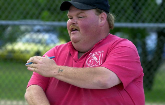 Donald Palmer, photographed while umpiring softball games in 2004. (News file photo).