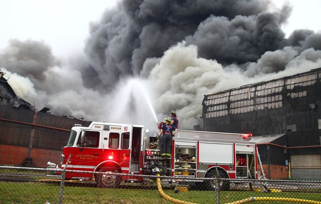 Lackawanna fire companies and a host of others battle the fire that broke out Wednesday at the former Bethlehem Steel plant. (John Hickey/Buffalo News)