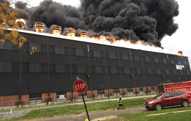The massive fire at the former Bethlehem Steel building early on Nov. 9 burned for days and spewed toxic smoke across the Southtowns. (Barbara O'Brien/Buffalo News)