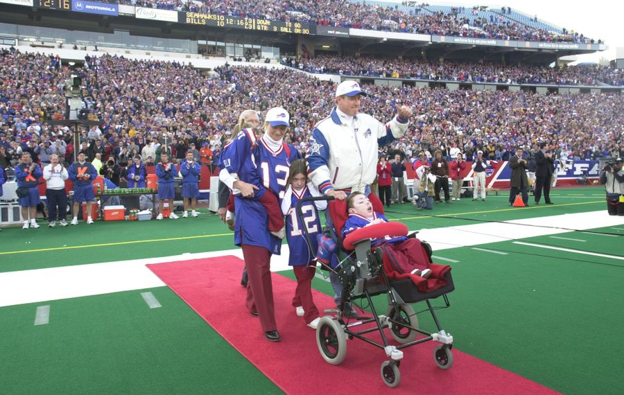 Jim Kelly, with his wife Jill, son Hunter, and daughters, Erin and Camryn, on Nov. 18, 2001, the day Jim was placed on the Bills Wall of Fame. (James P. McCoy/Buffalo News file photo)