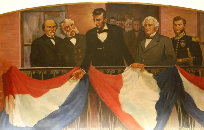 A mural featuring President Abraham Lincoln, painted under the Works Progress Administration program at the Buffalo and Erie County Historical Society. More than 300 WPA projects transformed Western New York while providing jobs for thousands of local people during the Great Depression. Although many of the labor projects left no visible signs, much of the artwork is still on display throughout the region. (Derek Gee/Buffalo News)