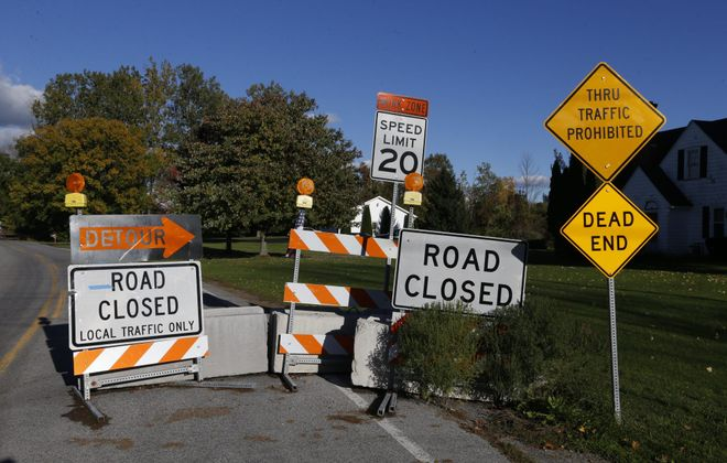 Tonawanda Creek Road,  just east of Westphalinger Road,  in the town of Clarence, remains closed to traffic. This photo was taken Oct. 13, 2016.  (Robert Kirkham/Buffalo News/File photo)