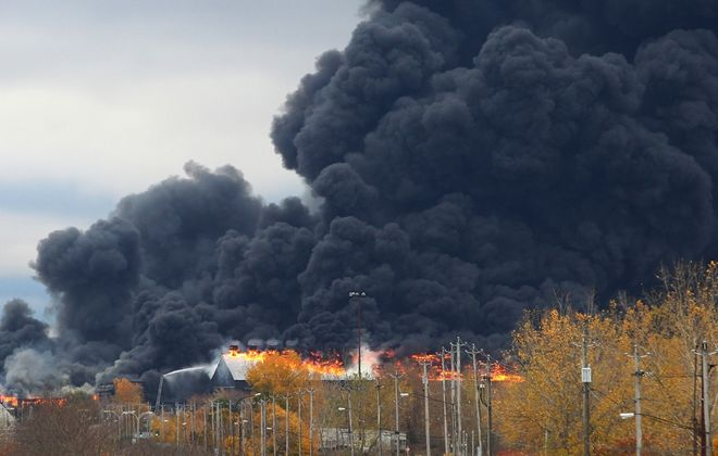 The fire at the former Bethlehem Steel Plant in Lackawanna in November 2016. (John Hickey/Buffalo News)