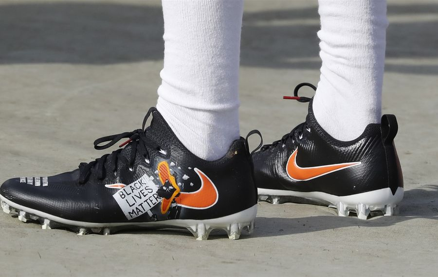 Bills safety Sergio Brown wore Black Lives Matter cleats with the names of shooting victims on the toe. (Harry Scull Jr./Buffalo News)