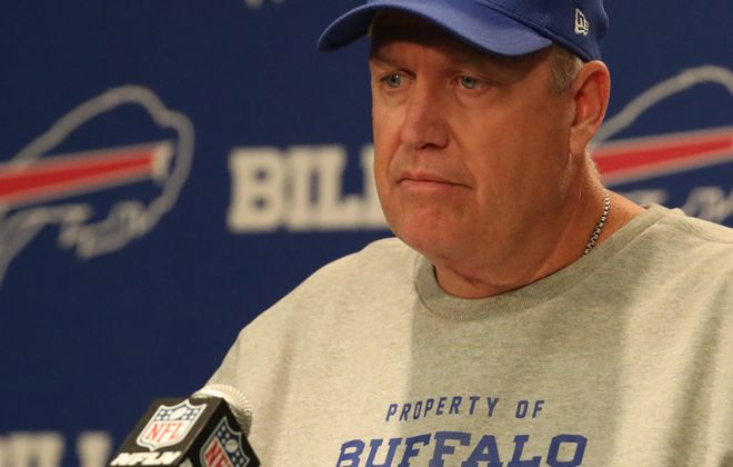 Rex Ryan needs his players to care about beating the Browns, but will they? (James P. McCoy/Buffalo News)