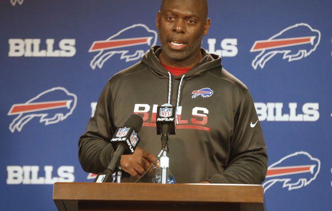 Bills interim head coach Anthony Lynn will make his debut Sunday against the Jets. (Robert Kirkham/Buffalo News)