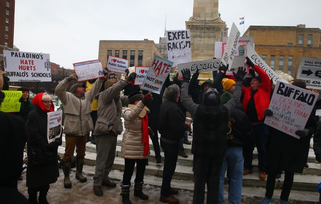 Several hundred people attended a  rally to remove Carl Paladino from the School Board at  Niagara Square in Buffalo on  Thursday. (John Hickey/Buffalo News)