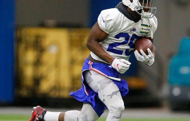 Bills running back LeSean McCoy runs during a practice. (Mark Mulville/Buffalo News)