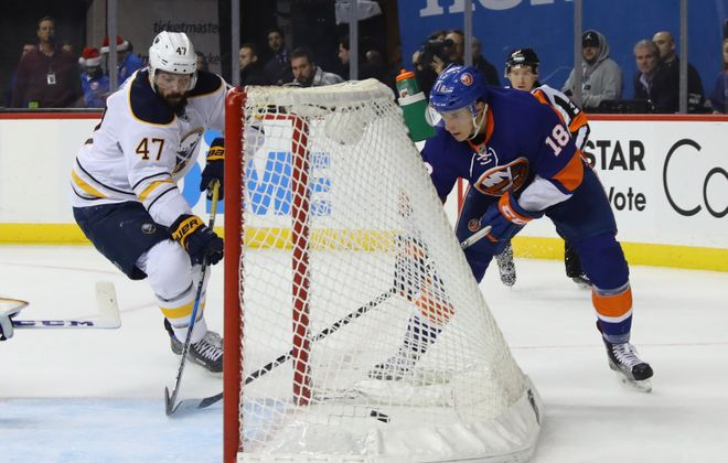 Ryan Strome and the Islanders were a step ahead of Zach Bogosian and the Sabres. (Getty Images)