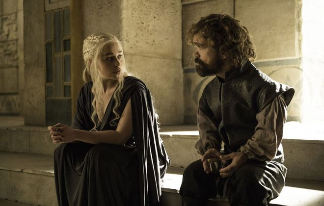 """Now would be a good time to catch up on the eight seasons of  """"Game of Thrones."""" Pictured are Emilia Clarke and Peter Dinklage. (Helen Sloan/HBO/TNS)"""