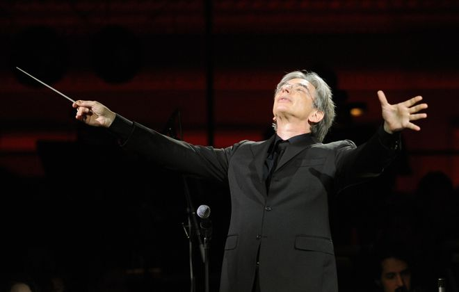 Michael Tilson Thomas conducting the YouTube Symphony Orchestra at Carnegie Hall in 2009. (Stan Honda/AFP/Getty Images)