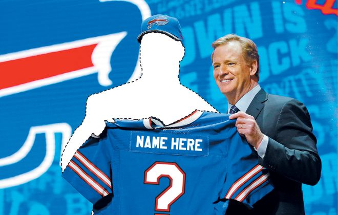 Part of the reason that the Buffalo Bills don'jt have a franchise quarterback is that they haven't used many draft picks on quarterbacks. (Jason Baum/Buffalo News photo illustration)
