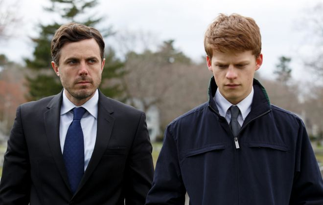 """Casey Affleck, left, and Lucas Hedges in """"Manchester By the Sea,"""" a film that comes in for praise in a new book by Ann Hornaday. (Claire Folger, Amazon Studios-Roadside Attractions)"""