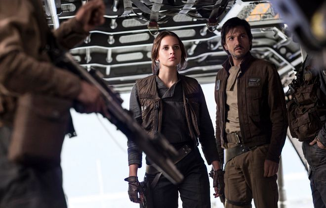 """Jyn Erso (Felicity Jones) and Cassian Andor (Diego Luna) in """"Rogue One: A Star Wars Story."""" (Jonathan Olley, Lucasfilm-Walt Disney Studios Motion Pictures)"""