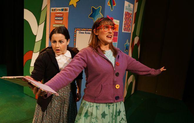 "Arin Lee Dandes and Renee Landrigan star in Theatre of Youth's production of ""Junie B. Jones in Jingle Bells, Batman Smells."""