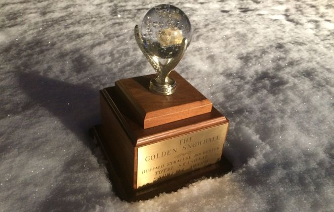 The 'new' Golden Snowball, symbol of Upstate big city snowfall supremacy, typically on display in Syracuse City Hall. (Sean Kirst/submitted image)