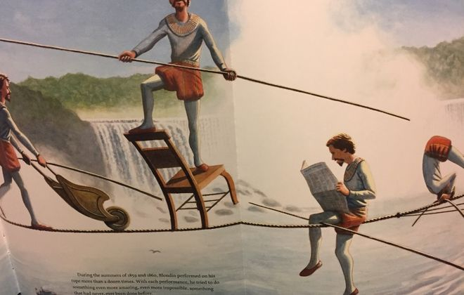 """Detail of illustration from Matt Tavares' book, """"Crossing Niagara: The Death-Defying Tightrope Adventures of the Great Blondin."""""""
