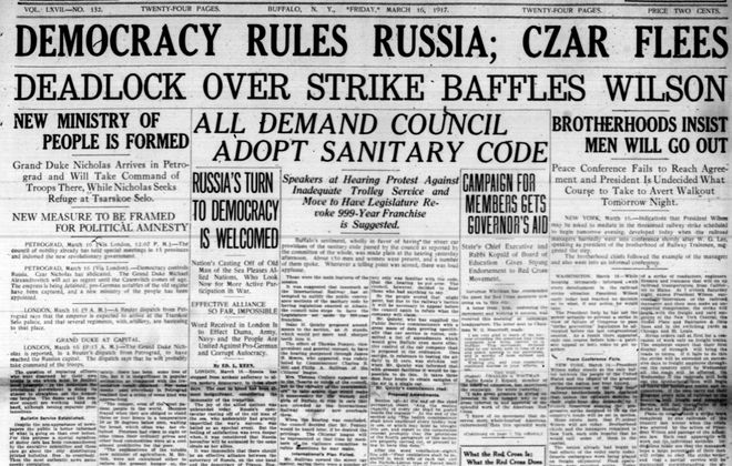 Front page, March 16, 1917: Czar Nicholas flees Russia after revolution