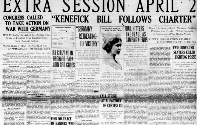 Front page, March 21, 1917: U.S. expected to declare war against Germany