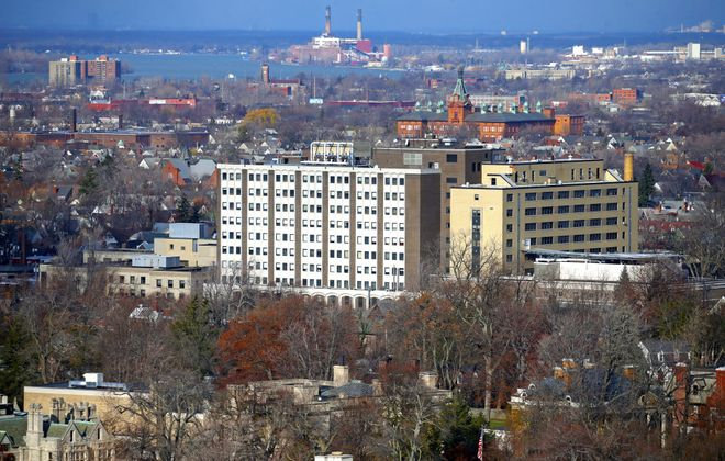 A view of the now vacant Womens & Children's Hospital from the roof of the new John R. Oishei Children's Hospital. (Robert Kirkham/News file photo)