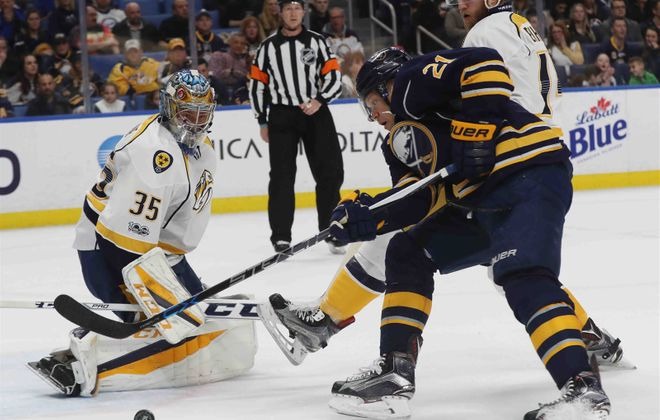 Kyle Okposo is one of four players the Sabres could get back in the lineup Saturday. (James P. McCoy/Buffalo News)