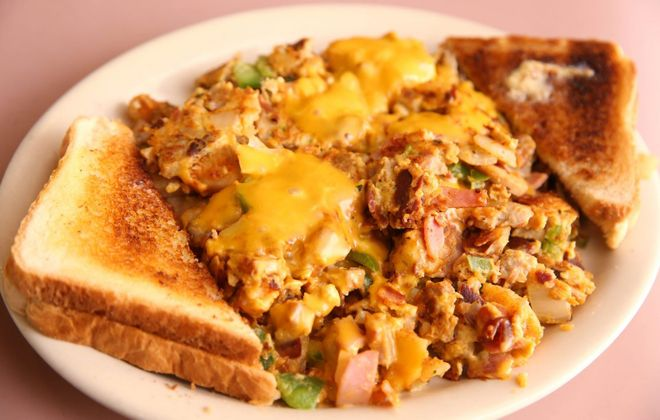 The meat garbage plate is a popular dish at Helen's Kitchen. (Sharon Cantillon/Buffalo News)