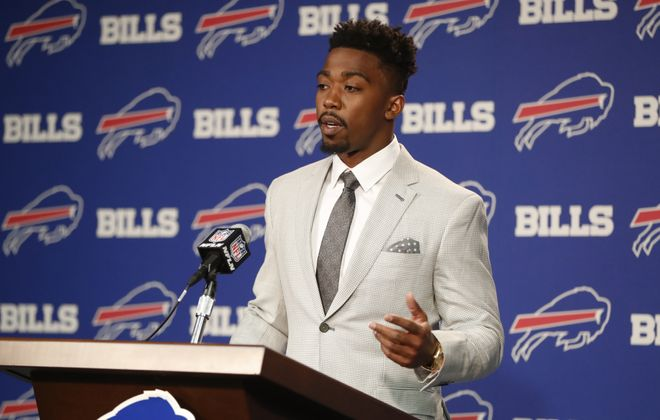 Buffalo Bills quarterback Tyrod Taylor at a press conference to discuss his restructured contract. (Harry Scull Jr./Buffalo News)