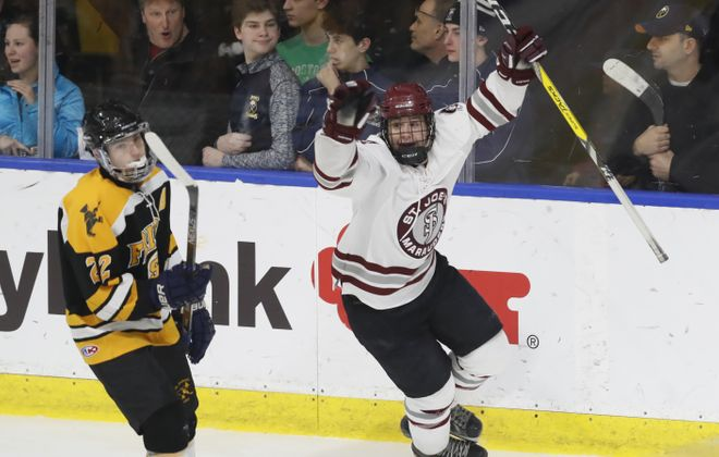 St. joe's Jeremy Lenco celebrates his goal against St. Anthony's during first period action at the HarborCenter on Sunday.