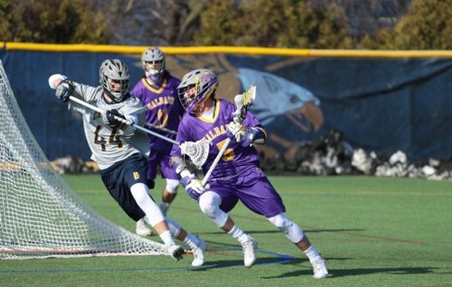 Albany's Connor Fields, a Bishop Timon-St. Jude grad, scored four goals and added three assists in a 20-11 Great Danes win at Canisius in 2017. (James P. McCoy/Buffalo News)