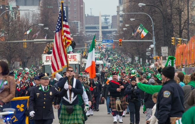 The 2017 St. Patrick's Day parade moves down Delaware Avenue. (Derek Gee/News file photo)