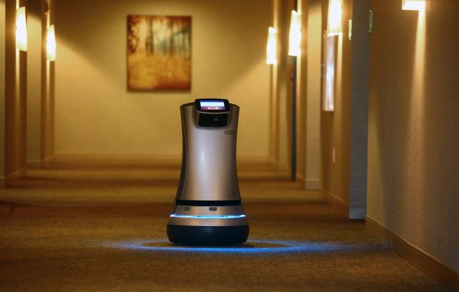 Replay Robot makes the  rounds at Delaware North's Westin Buffalo. Relay Robot, designed and built by Savioke, can wait on guests, deliver drinks, merchandise, etc. (John Hickey/Buffalo News)
